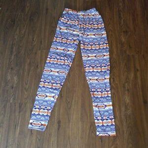 Always yoga pants purple orange Aztec tribal print